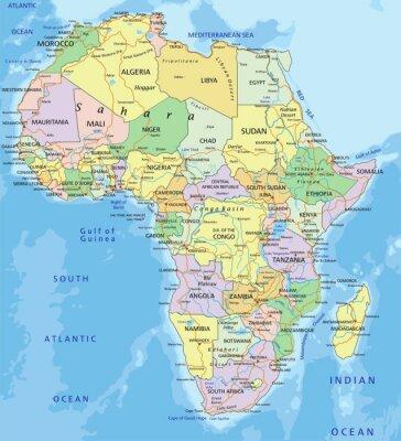 Наклейка Африка - очень подробные редактируемые политическая карта.