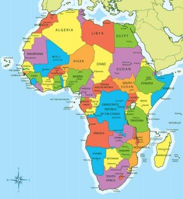 Наклейка Карта Африки со странами и городами