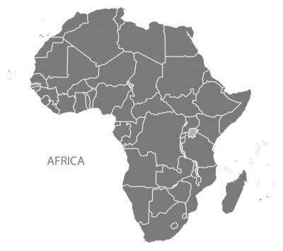 Наклейка Карта Африки со странами серых