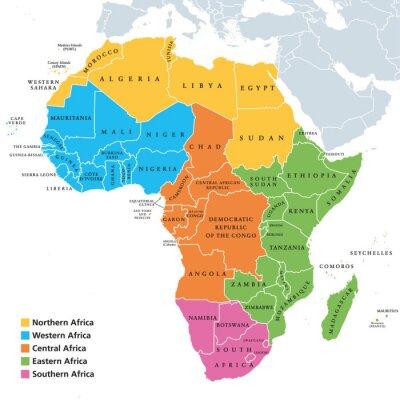 Наклейка Политическая карта регионов Африки с отдельными странами. Геосфера Организации Объединенных Наций. Северной, Западной, Центральной, Восточной и Южной Африке в разных цветах. Английская маркировка. Илл