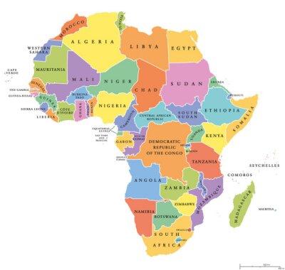 Наклейка Африка сингл заявляет политическую карту. Каждая страна со своей собственной области цвета. С национальными границами на белом фоне. Континент включая Мадагаскар и островные государства. Английский ма