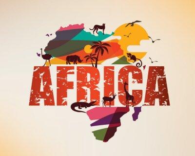 Наклейка Карта путешествия Африки, декоративный символ континента Африки с силуэтами диких животных