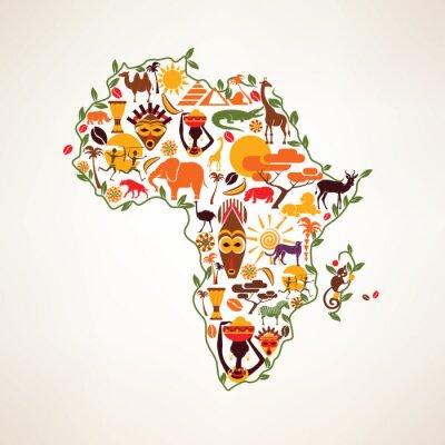 Наклейка Африка путешествия карта, decrative символ Африки континента с ETH