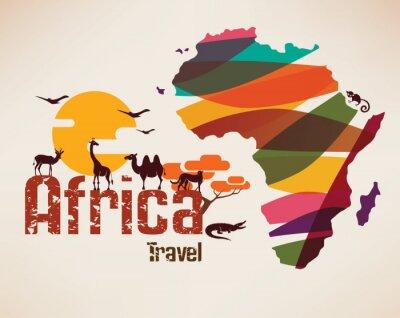 Наклейка Карта путешествия Африка, decrative символ Африки континента с ETH