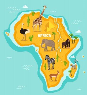 Наклейка Африканских животных вектор диких животных иллюстрации. Африканской фауны, страуса, жирафа, слона, обезьяны, зебры, лемур, антилоп в мультяшном стиле. Африканский континент в синем океане с дикими жив