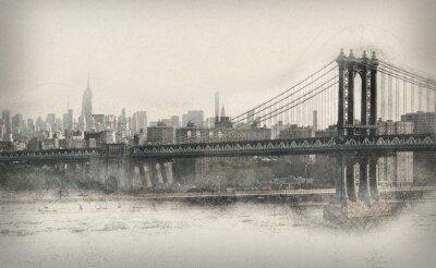 Наклейка Aged монохромные панорама Нью-Йорка
