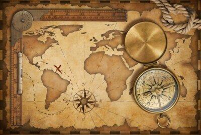 Наклейка Карта возрасте сокровище, линейка, веревки и старый латунные Компас с крышкой