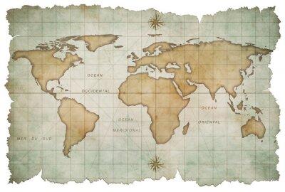 Наклейка Карта возрасте мир на белом
