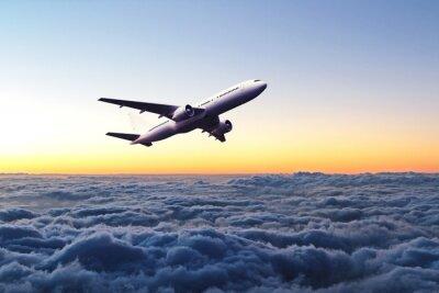 Наклейка Самолет в небе на рассвете