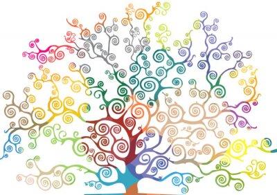 Наклейка albero con rami curvi e colorati
