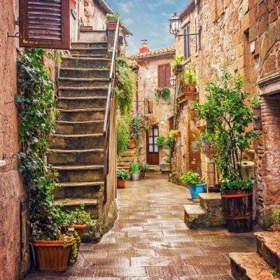 Наклейка Аллея в старом городе Питильяно Тоскана Италия