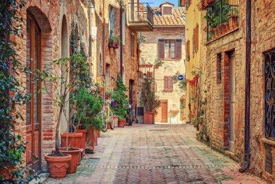 Наклейка Аллея в старом городе Тоскана Италия