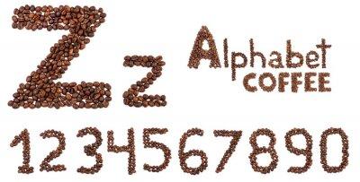 Наклейка алфавит из кофейных зерен, изолированных