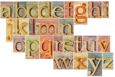 Наклейка алфавит в высокой печати типа древесины
