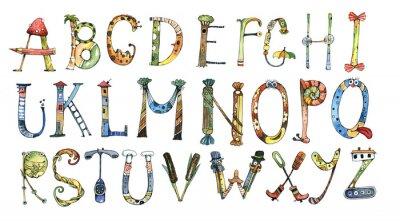Наклейка алфавит, письмо, акварель