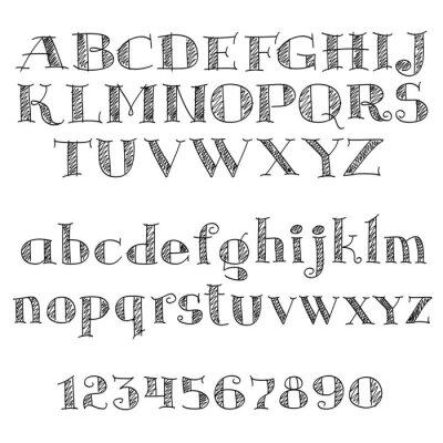 Наклейка Алфавит букв шрифт с штриховкой