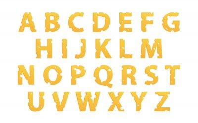 Наклейка Алфавит сделана из сыра