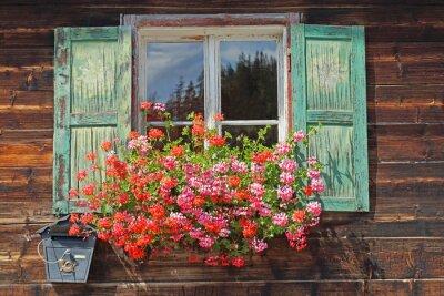 Наклейка старые деревянные окна с плантатор