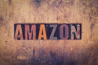 Наклейка Amazon Концепция деревянный Тип Letterpress