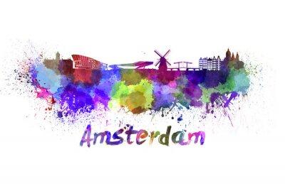 Наклейка Амстердам горизонт акварелью