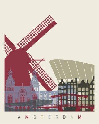 Наклейка Амстердам горизонт плакат