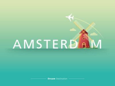 Наклейка Амстердам типография