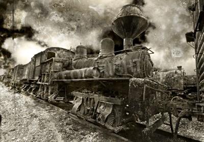 Наклейка Старый ржавчины старинных паровоз