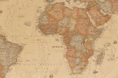 Наклейка Древняя географическая карта Африки с названиями стран