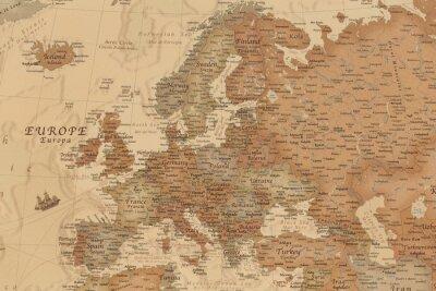 Наклейка Древняя географическая карта Европы с названиями стран