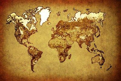 Наклейка древняя карта мира на старой бумаге
