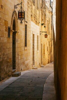 Наклейка Ancient narrow maltese street in Mdina