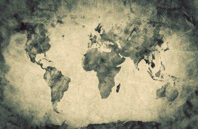 Наклейка Древний, старый карта мира. Карандаша, и старинные фон