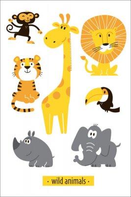 Наклейка Animals vector set. Cartoon Monkey, giraffe, lion, hippo, elephant, tiger, toucan pirate. Perfect for wallpaper,print,packaging,invitations,Baby shower,birthday party,patterns,travel,logos etc
