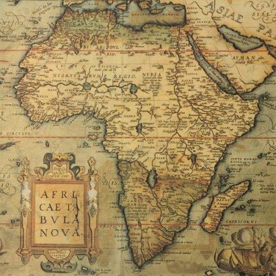 Наклейка антикварная карта карта Африки голландским картографом Абрахамом Ортелиусом