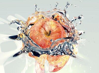 Наклейка яблоко faling и разбрызгивание в воду