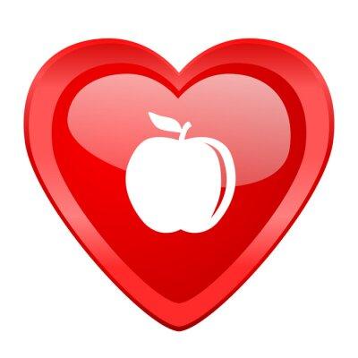 Наклейка яблоко красное сердце Валентина глянцевый веб-иконы