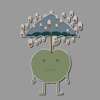 Наклейка яблоко с зонтиком и дождя таблетки