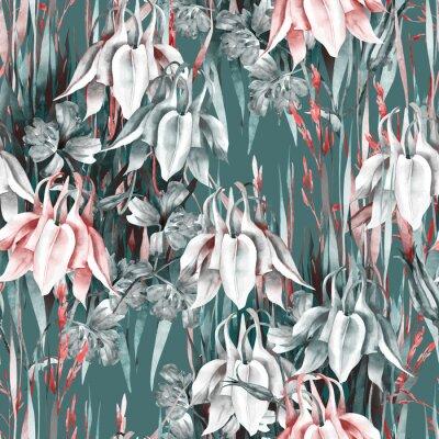 Наклейка Aquilegia Flowers Seamless Pattern. Watercolor Background.