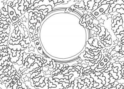 Наклейка Вокруг Луны (векторные иллюстрации)