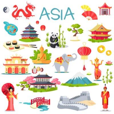 Наклейка Азия Коллекция символических элементов на белом фоне