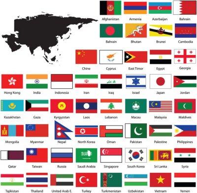 Наклейка Asian flags