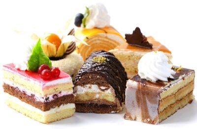 Наклейка Ассорти из различных мини-пирожные с кремом, шоколадом и ягодами