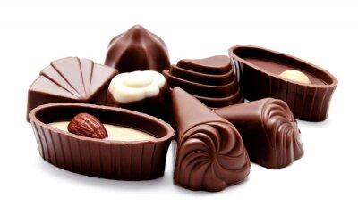 Наклейка Ассортимент шоколадных конфет изолирован