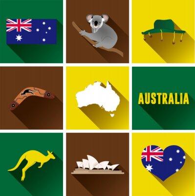 Наклейка Австралия Flat Icon Set. Набор векторных графических плоских значков, представляющих достопримечательности и символы Австралии.
