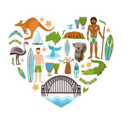 Наклейка Австралия форме сердца