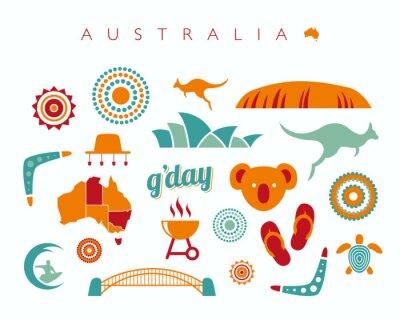 Наклейка Австралия набор иконок - векторная иллюстрация
