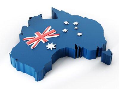 Наклейка Карта Австралии и флаг