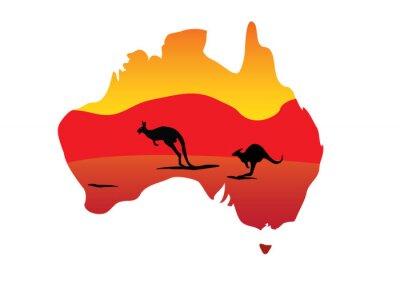 Наклейка Карта Австралии и кенгуру прыжковой два