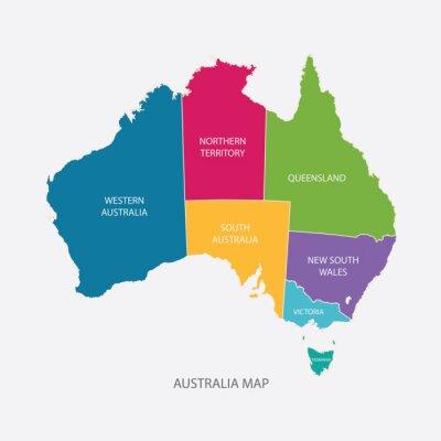 Наклейка АВСТРАЛИЯ цвет карты с регионами плоский дизайн иллюстрация вектор