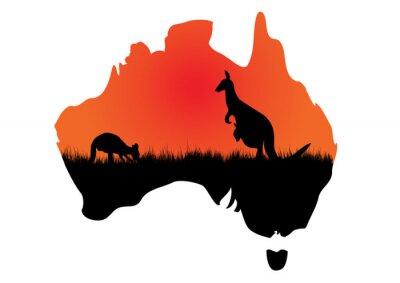 Наклейка Австралийский карта с kangaaroo